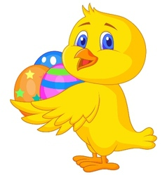 Cute chicken cartoon with easter egg vector image
