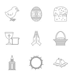 Easter icon set outline style vector
