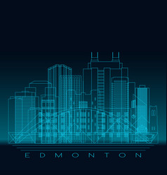 Edmonton skyline detailed silhouette modern vector