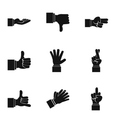 Fingers icons set simple style vector