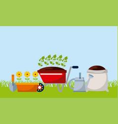 Gardening equipment design vector