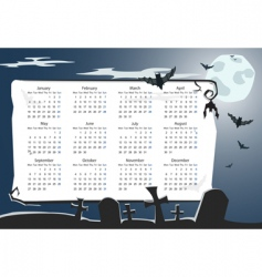 halloween calendar with cemetery vector image