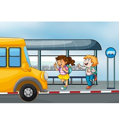 Happy passengers at the bus station vector image