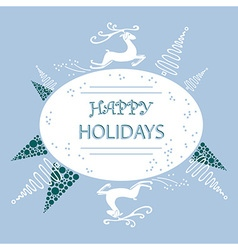 Holiday card reindeer and christmas trees vector