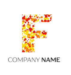 Letter f logo with orange yellow red particles vector