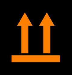 Logistic sign of arrows orange icon on black vector