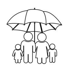 Monochrome contour of pictogram with umbrella vector