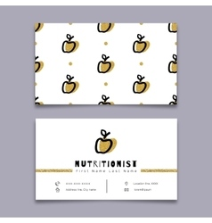 Nutritionist business card dietitian trendy vector