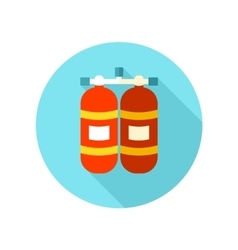 Oxygen tank flat icon with long shadow vector image