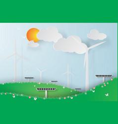 paper art of green wind turbine solar energy vector image