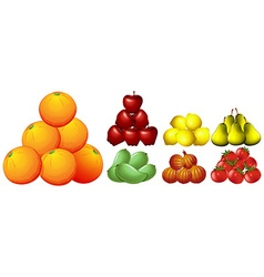 Piles of different kinds of fruits vector image vector image