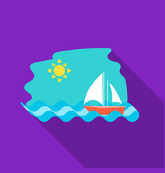 Sailing boat on the sea icon in flat style vector