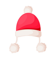 santa claus hat with strings ending in pompoms vector image vector image
