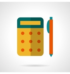 School supply flat icon yellow calculator vector