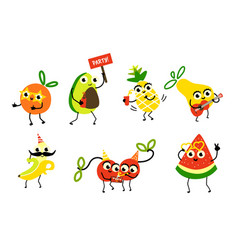 set of fruit characters having fun birthday party vector image