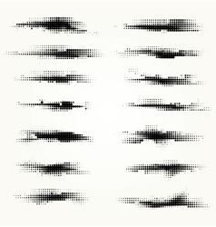 Set of horizontal spots halfton vector image