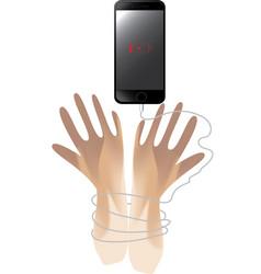 smartphone bondage hand vector image