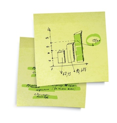 sucessful business graph on sticky paper realistic vector image vector image
