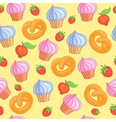 Sweet pattern cakes on yellow background seamless vector