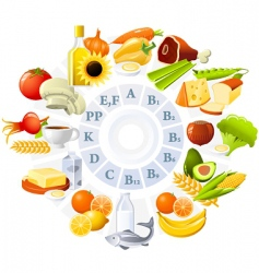 table of vitamins vector image vector image