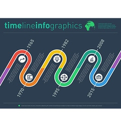 time line info graphic with diagram icons and over vector image vector image
