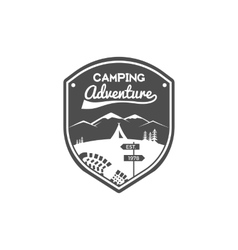 Camping adventures label vintage mountain winter vector