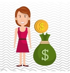 Woman bag money currency vector