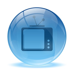 3d glass sphere and tv icon vector