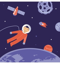 Cartoon astronaut in space vector
