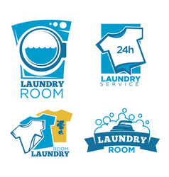 laundry service logotypes set with equipment and vector image