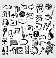 doodled icons2 vector image