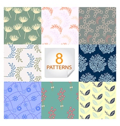 Natural seamless patterns 8 designs in one set vector