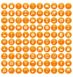 100 inn icons set orange vector