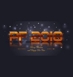 2018 happy new year card in gold color vector image
