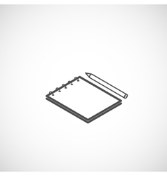 isometric icon of notepad and pencil vector image