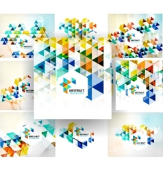 Set of geometric abstract polygonal backgrounds vector