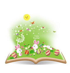 easter egg and buny funny spring with dandelion in vector image