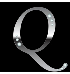 Silver metallic letter q vector