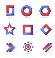 Blue red logo icons elements set vector