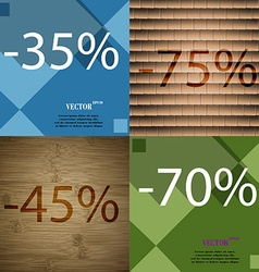 75 45 70 icon set of percent discount on abstract vector