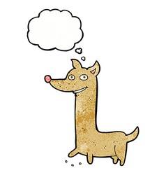 Funny cartoon dog with thought bubble vector
