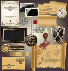 Vintage stuff collection vector