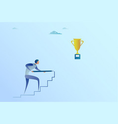 business man drawing on stairs up to golden cup vector image