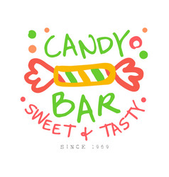 Candy bar sweet and tasty logo colorful hand vector