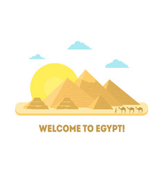 cartoon pyramid symbol of egypt background tourism vector image vector image
