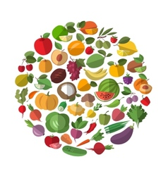 Cartoon vegetables and fruits vector image vector image