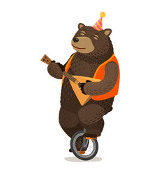 circus performance happy bear rides unicycle and vector image