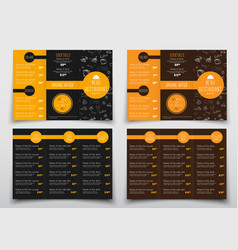 Design of triple folding menus for cafes and vector