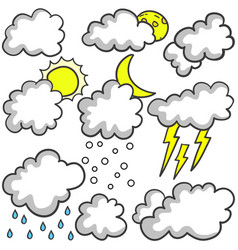 Doodle of weather set cloud various vector
