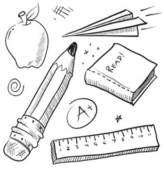 Doodle school book pencil paper apple learn vector
